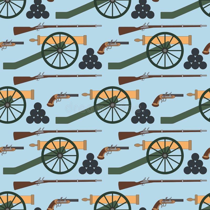 Nahtloses Muster mit Kanonen, smoothbore Gewehren und Pistolen stock abbildung