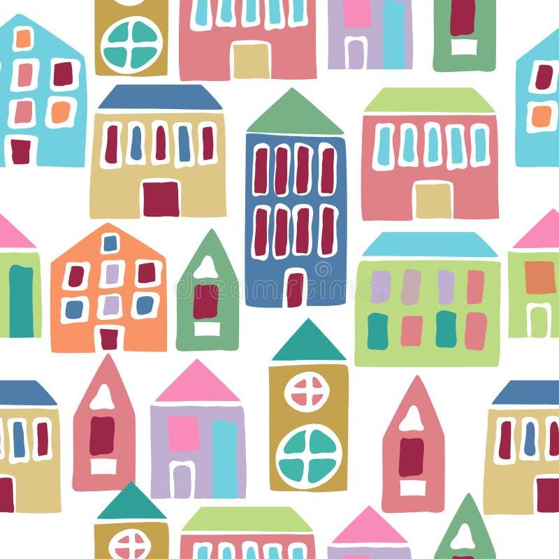 Nahtloses Muster mit Karikaturhäusern lizenzfreie abbildung
