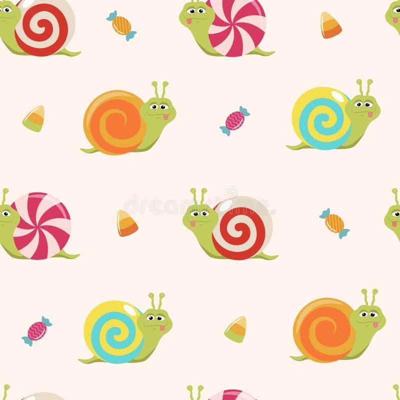 Nahtloses Muster mit Karikatursüßigkeitsschnecken und -bonbons lizenzfreie stockfotos