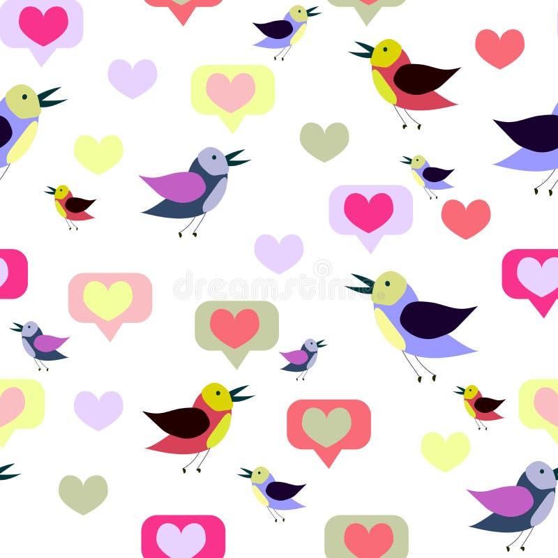 Nahtloses Muster mit Karikaturvögeln und -herzen Fr?hling, Sommerdesign Vektorbeschaffenheit, Druck, Papier lizenzfreie abbildung