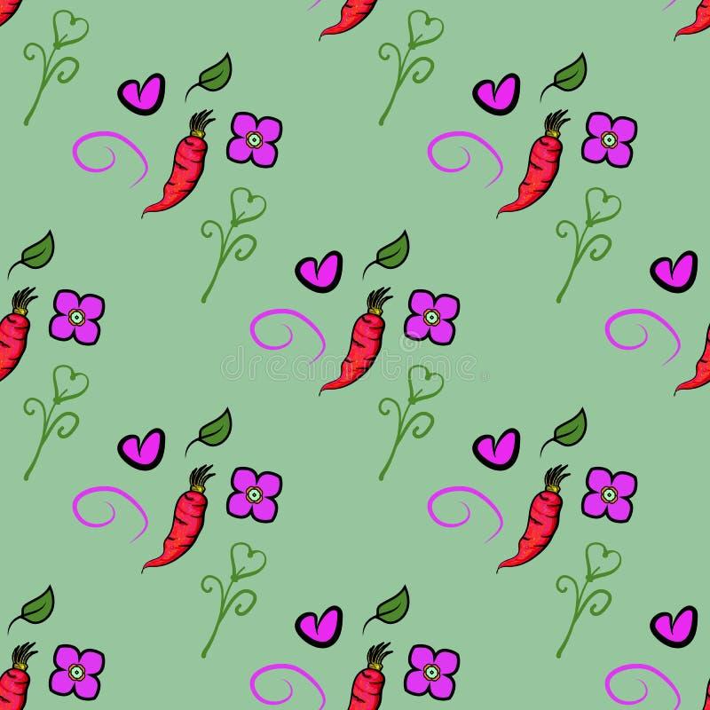 Nahtloses Muster mit Karotten und nette Orange, Herz und Blume auf grünem Hintergrund Es kann für das Verpacken, Packpapier verwe vektor abbildung