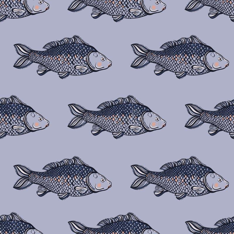 Nahtloses Muster mit Karpfenfischen teich Hintergrund mit Unterwassereinwohnern Hand gezeichnet vektor abbildung