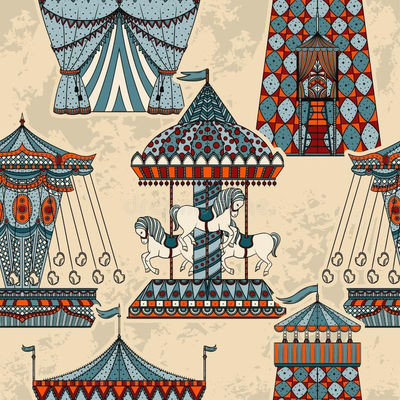 Nahtloses Muster mit Karussell und Zelt Funfairthema lizenzfreie abbildung