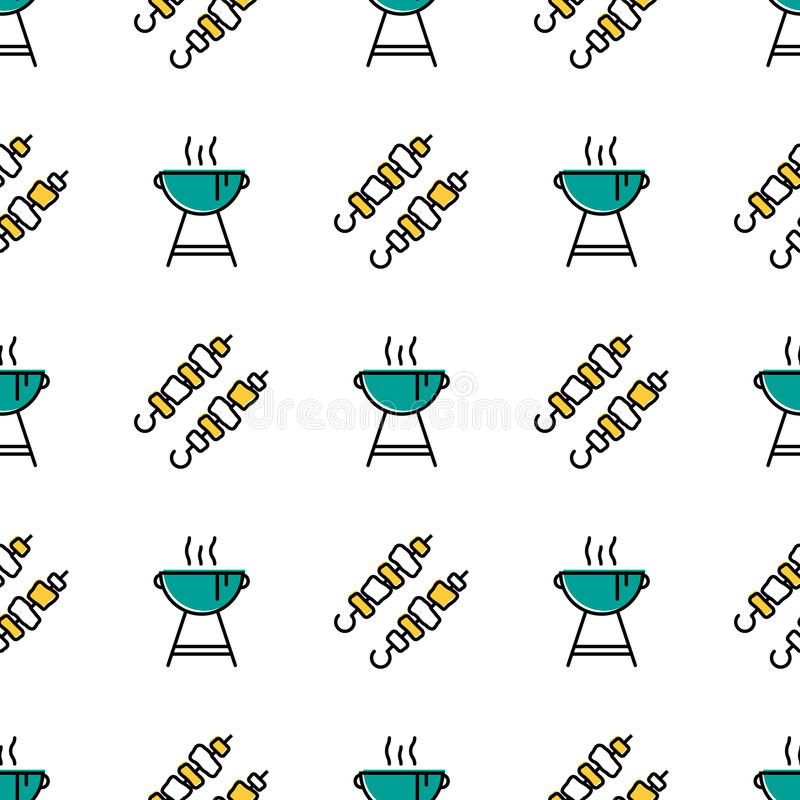 Nahtloses Muster mit Kebab und Grill vektor abbildung