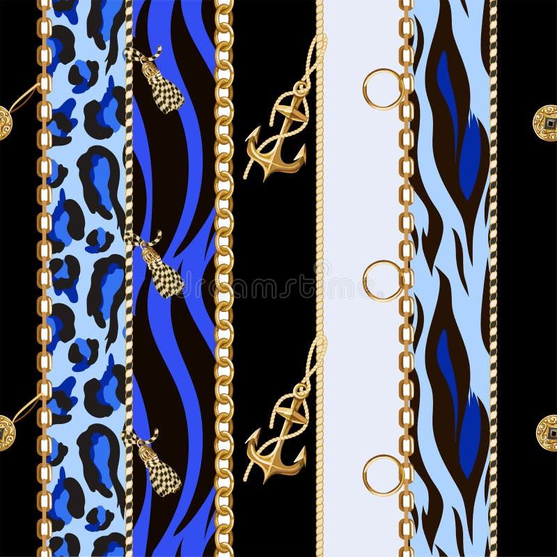 Nahtloses Muster mit Ketten, Anker, Münzen auf Leoparden und Zebrahintergrund Vektor vektor abbildung