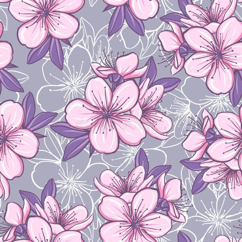 Nahtloses Muster mit Kirschblüte lizenzfreie abbildung