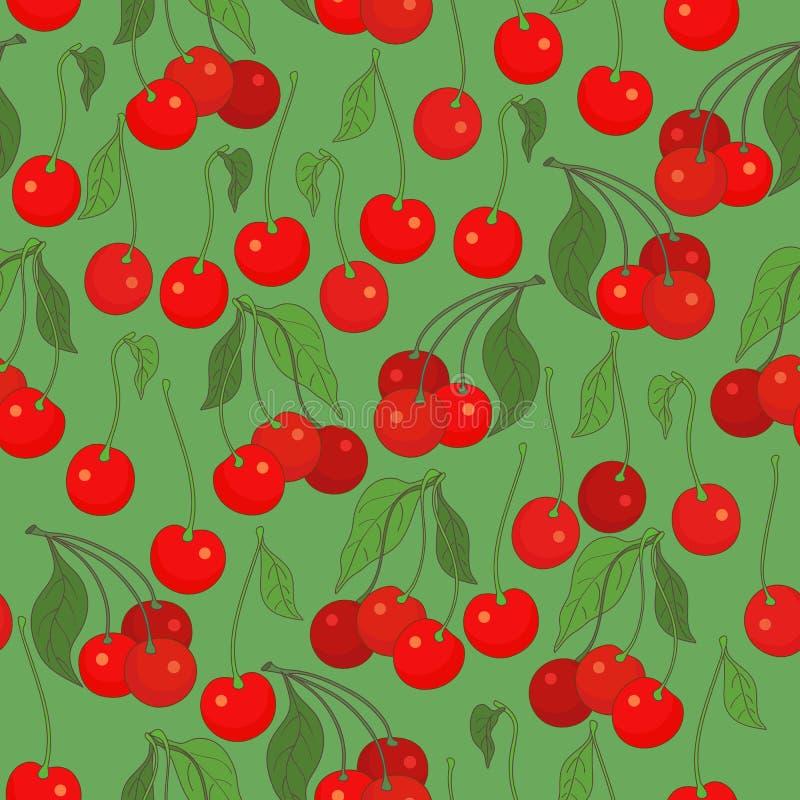 Nahtloses Muster mit Kirschen lizenzfreie abbildung