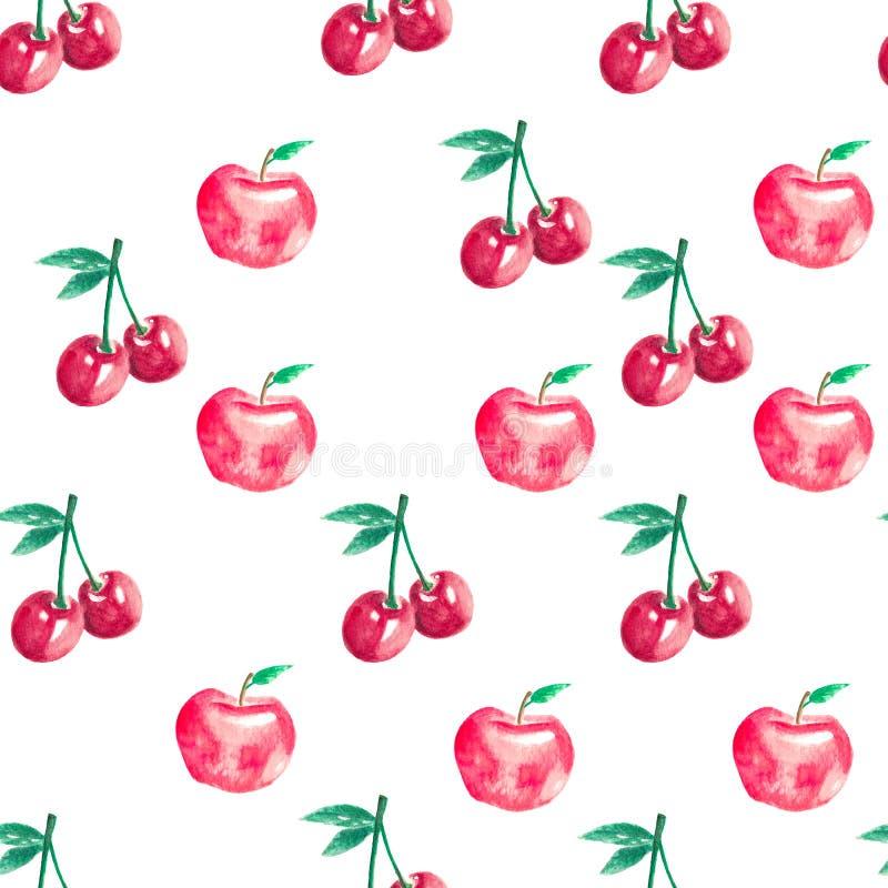 Nahtloses Muster mit Kirschen und Äpfeln lizenzfreie stockfotografie