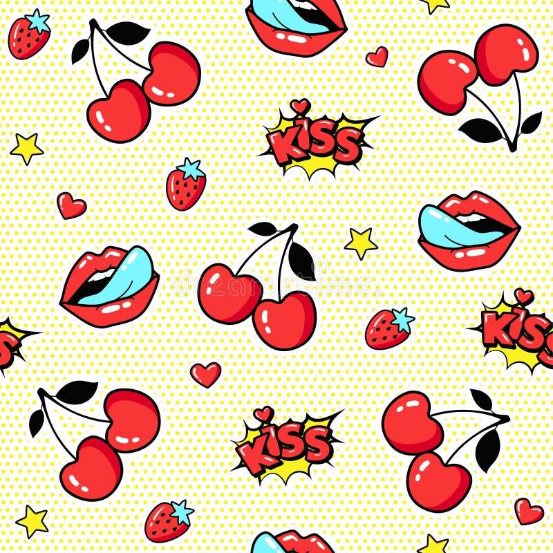 Nahtloses Muster mit Kirschen und den Lippen in der Pop-Arten-Art lizenzfreie abbildung