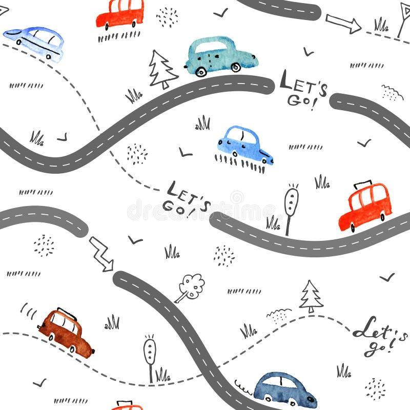 Nahtloses Muster mit kleinen Autos und Verkehrsschildern auf weißem Hintergrund lizenzfreie abbildung