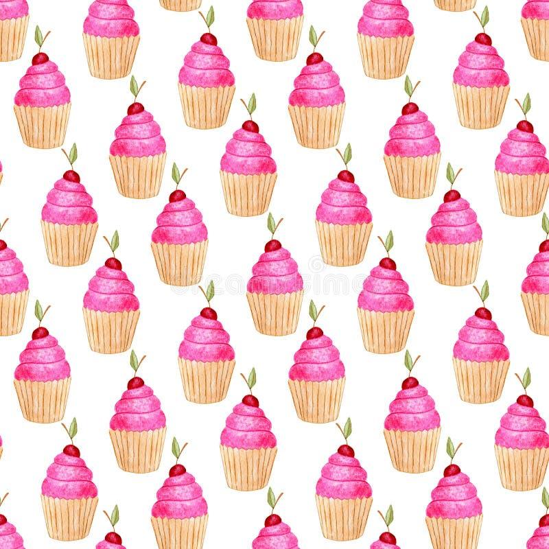 Nahtloses Muster mit kleinen Kuchen Netter Hintergrund im Aquarell Süßer Modedruck Geburtstagseinladungsdekoration vektor abbildung