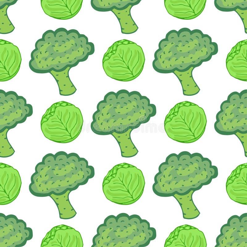 Nahtloses Muster mit Kohl und Brokkoli Vektorillustration mit Hand gezeichneter gesunder Gemüsemischung Vervollkommnen Sie für da stock abbildung