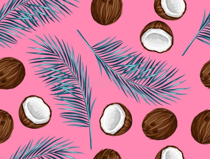 Nahtloses Muster mit Kokosnüssen Tropischer abstrakter Hintergrund im Retrostil Bedienungsfreundlich für Hintergrund, Gewebe, wic lizenzfreie abbildung