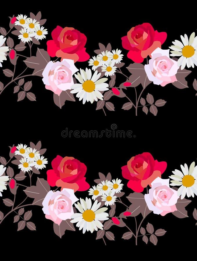 Nahtloses Muster mit Kränzen von den Gartenblumen lokalisiert auf schwarzem Hintergrund Rote und rosa Rosen, chamomilies und brau lizenzfreie abbildung