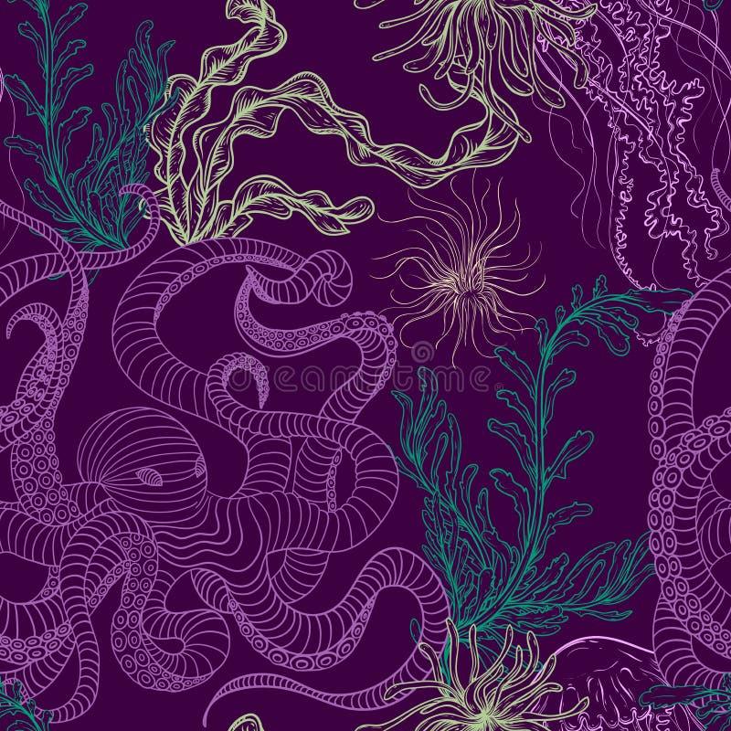 Nahtloses Muster mit Krake, Quallen, Marineanlagen und Meerespflanze Vektor-Illustrationsmeeresflora und -fauna der Weinlese Hand vektor abbildung