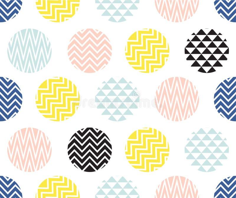 Nahtloses Muster mit Kreis des Zickzacks zeichnet, bunt auf weißem Hintergrund stockfotografie
