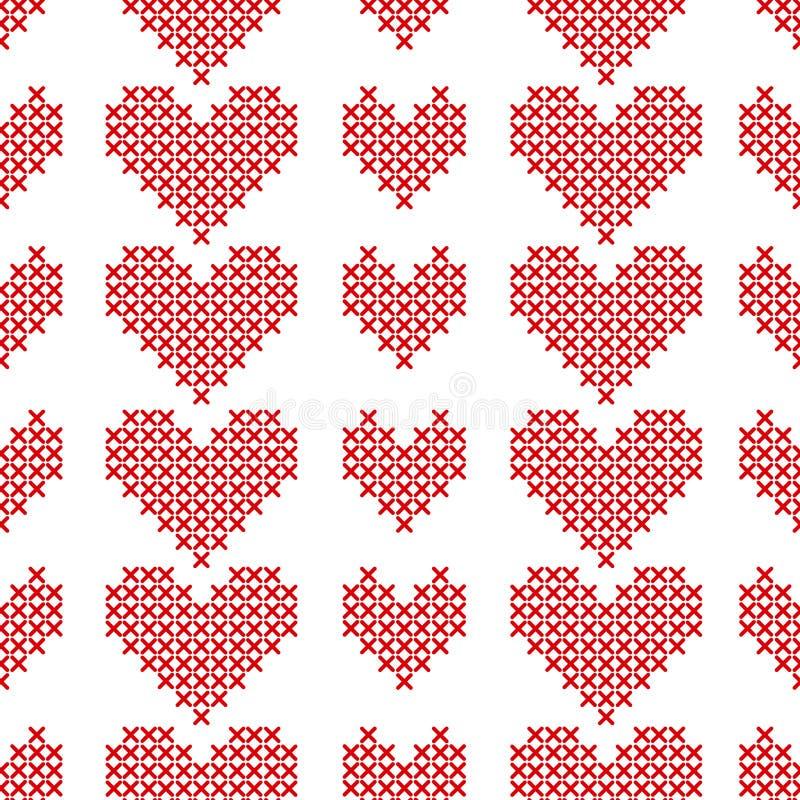 Nahtloses Muster mit Kreuzstichherzen auf weißem Hintergrund stock abbildung