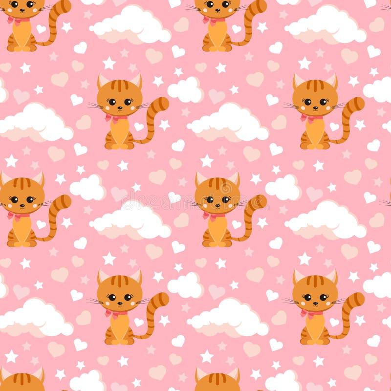 Nahtloses Muster mit lächeln wenig gestreifte Katze des Ingwers mit rosa Bogen auf seinem Hals vektor abbildung