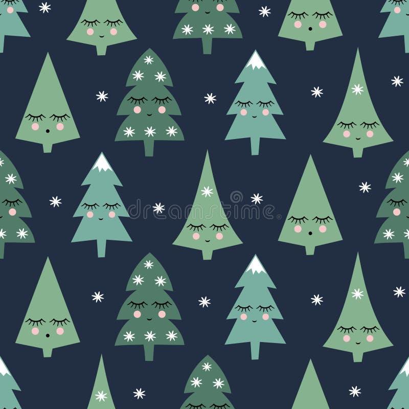 Nahtloses Muster mit lächelnden Schlafenweihnachtsbäumen und -schneeflocken Hintergrund des glücklichen neuen Jahres stock abbildung