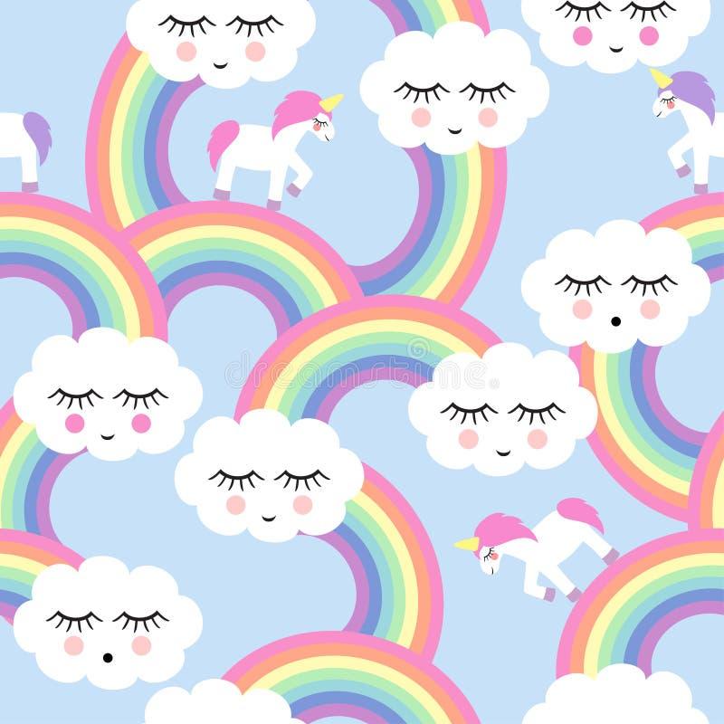 Nahtloses Muster mit lächelnden Schlafenwolken und -regenbogen lizenzfreie abbildung