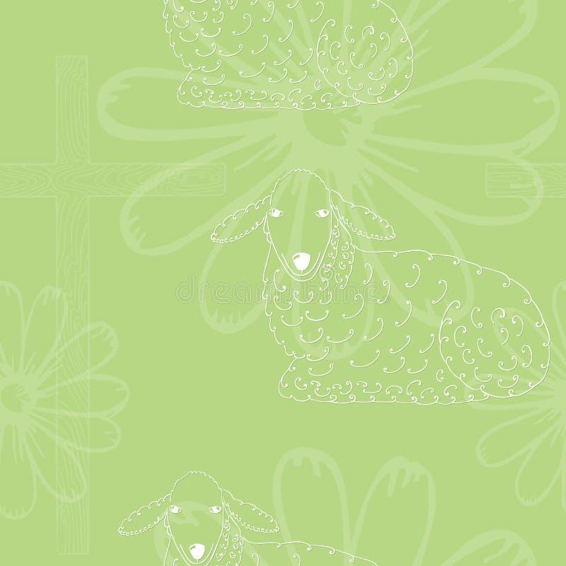 Nahtloses Muster mit Lamm, Kreuz und Gänseblümchen vektor abbildung