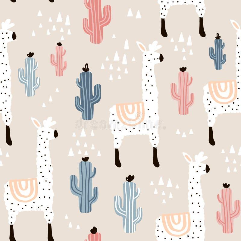 Nahtloses Muster mit lamma, Kaktus und Hand gezeichneten Elementen Kindische Beschaffenheit Groß für Gewebe, Gewebevektor-Illustr stockbild