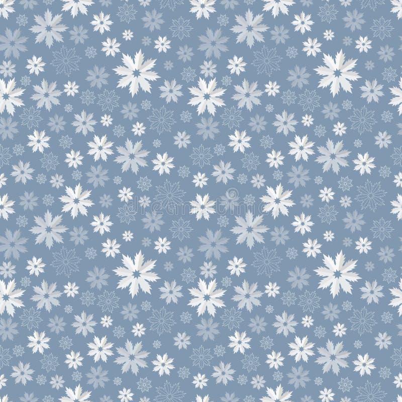 Nahtloses Muster mit lichtdurchlässigen Schneeflocken auf einem blau-grauen Hintergrund Auch im corel abgehobenen Betrag lizenzfreie abbildung
