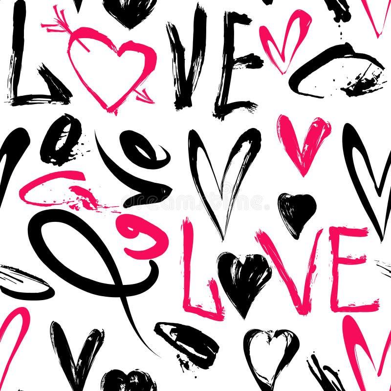 Nahtloses Muster mit Liebeswörtern, Herzen stock abbildung