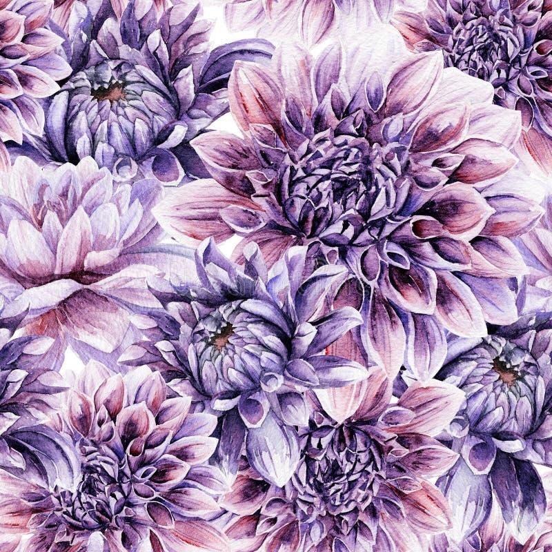 Nahtloses Muster mit lila Dahlie lizenzfreie abbildung