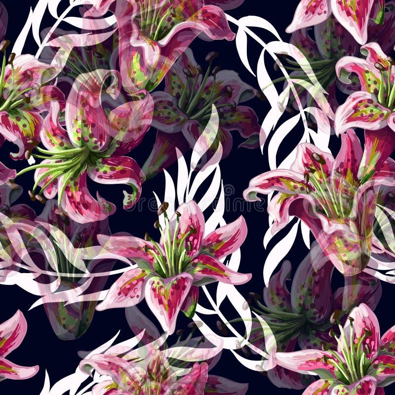 Nahtloses Muster mit Lilienblumen und tropischen Blättern auf dunklem Hintergrund Auch im corel abgehobenen Betrag vektor abbildung