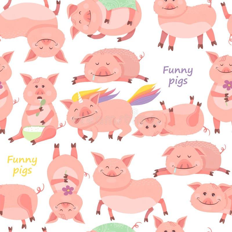 Nahtloses Muster mit lustige Piggy neuem Jahr des Symbols 2019 Ferkel lächelt, sitzt, liegt, isst Brei, Schlaf, Schweineinhorn vektor abbildung