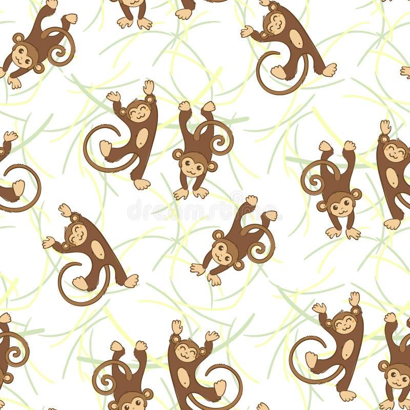 Nahtloses Muster mit lustigen Affen lizenzfreie abbildung