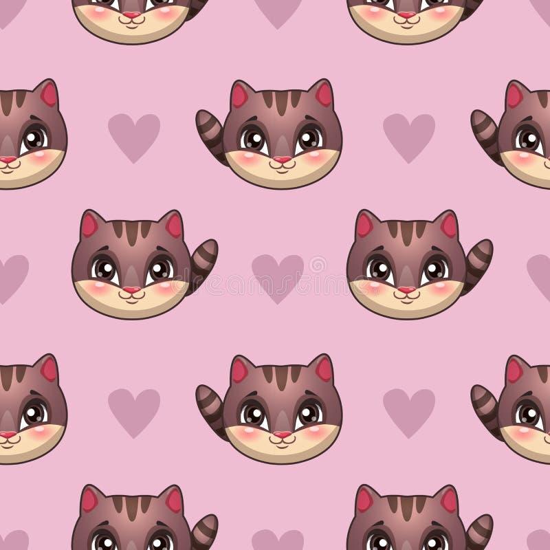 Nahtloses Muster mit lustigen Katzengesichtern lizenzfreie abbildung