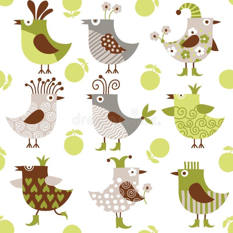 Nahtloses Muster mit lustigen Vögeln vektor abbildung