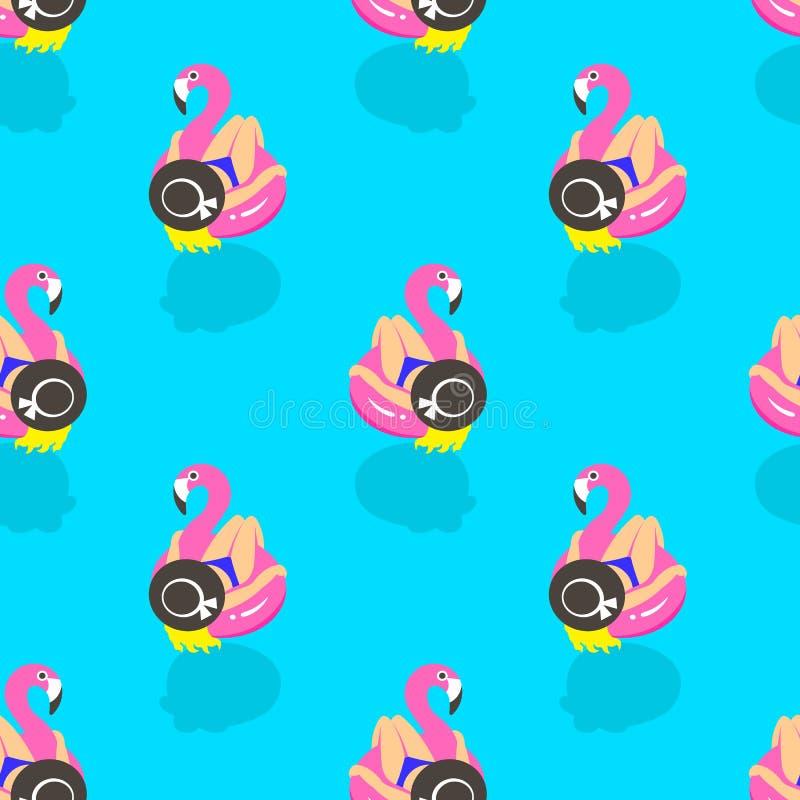 Nahtloses Muster mit Mädchen auf einem aufblasbaren rosa Flamingo im Sommer des Schwimmens und der Reste lizenzfreie abbildung