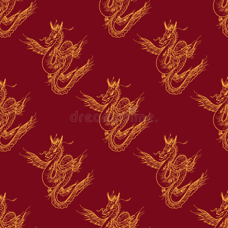 Nahtloses Muster mit magischem Fliegendrachen lizenzfreie abbildung