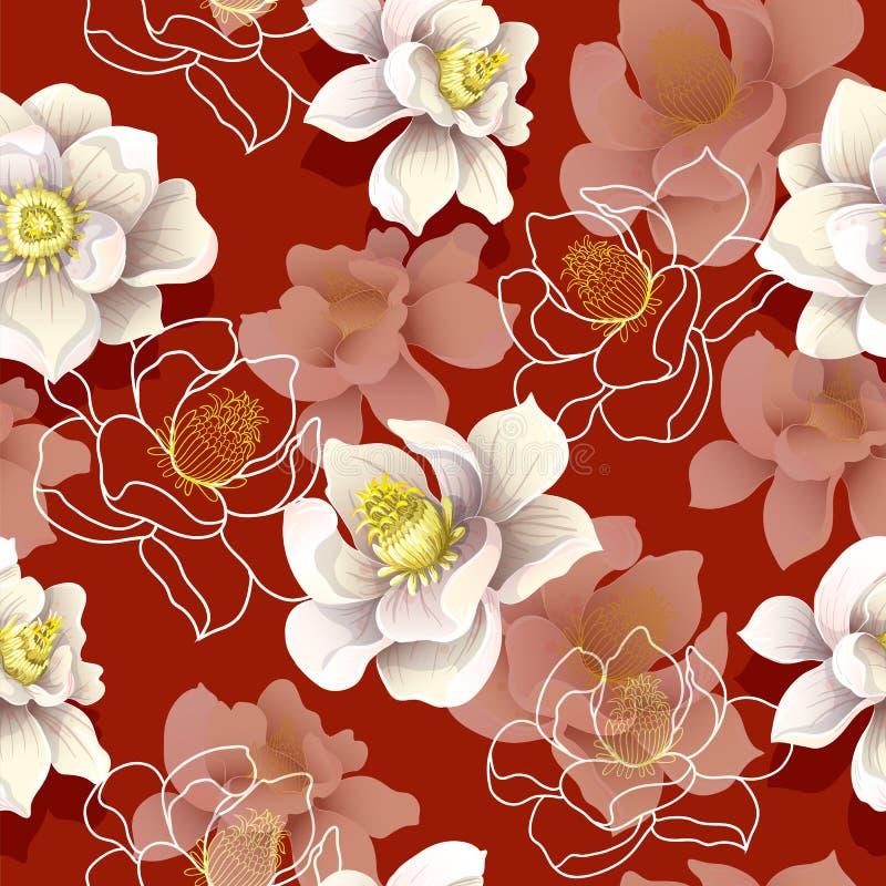 Nahtloses Muster mit Magnolie blüht auf einem roten Hintergrund Auch im corel abgehobenen Betrag lizenzfreie abbildung