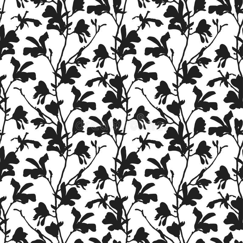 Nahtloses Muster mit Magnolienbaumblüte in Schwarzweiss Blumenhintergrund mit Niederlassungs- und Magnolienblume vektor abbildung