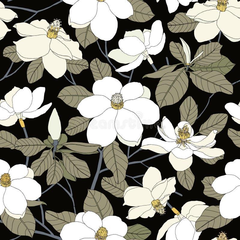 Nahtloses Muster mit Magnolienblumen und -blättern auf schwarzem backg stock abbildung