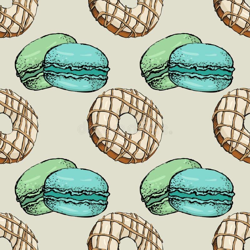 Nahtloses Muster mit Makronenfarbskizze 4 lizenzfreie abbildung
