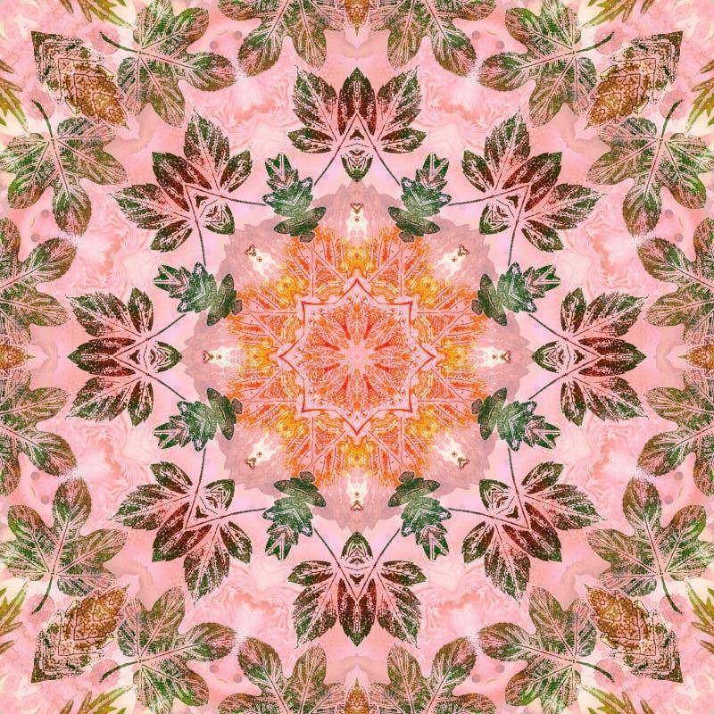 Nahtloses Muster mit Malereiblättern stock abbildung
