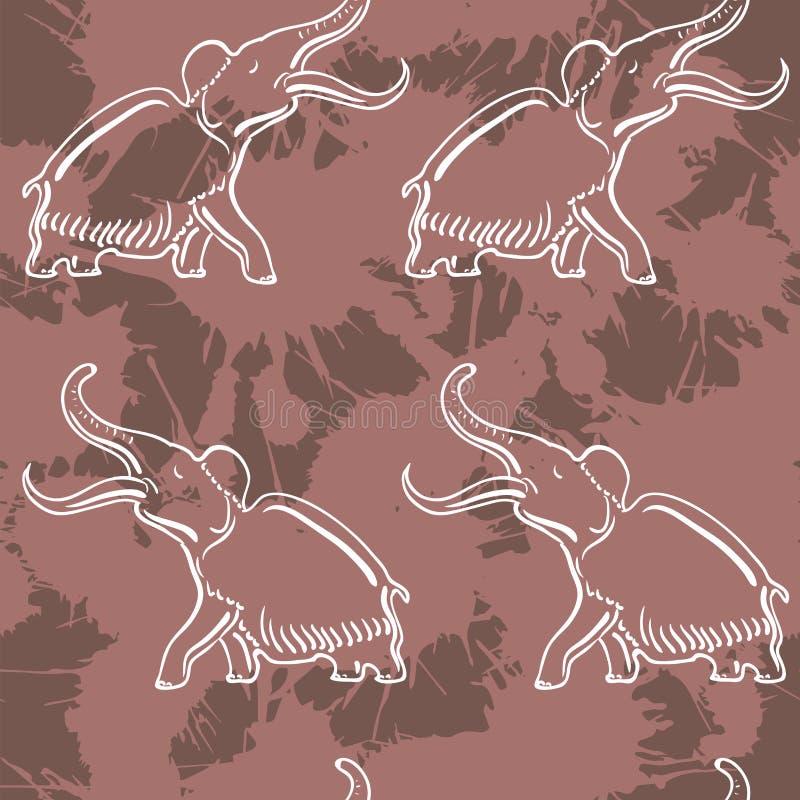 Nahtloses Muster mit Mammut lizenzfreie abbildung