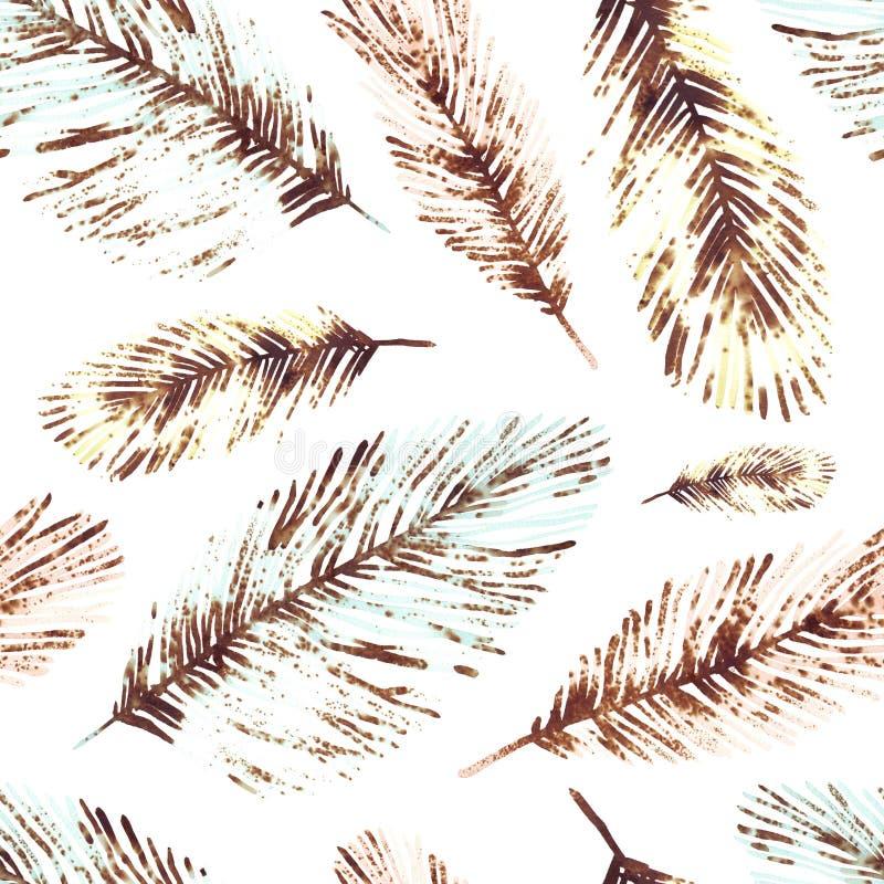Nahtloses Muster mit Marineanlagen, Bl?ttern und Meerespflanze vektor abbildung