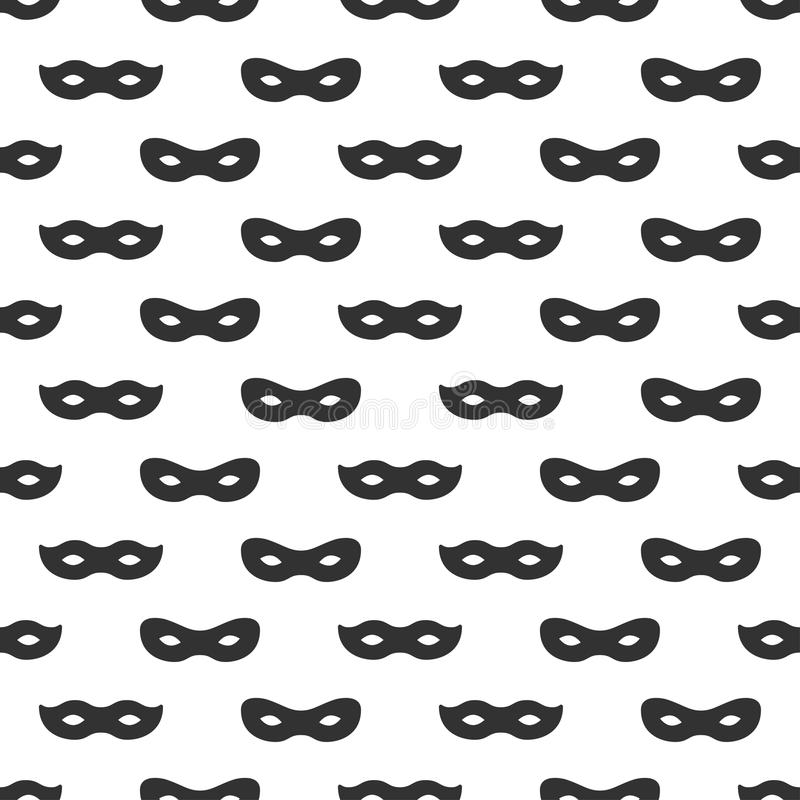 Nahtloses Muster mit Maske Schwarzweiss-Karnevalsübersichtliches design Superheld-Maske Traditionelles venetianisches festliches lizenzfreie abbildung
