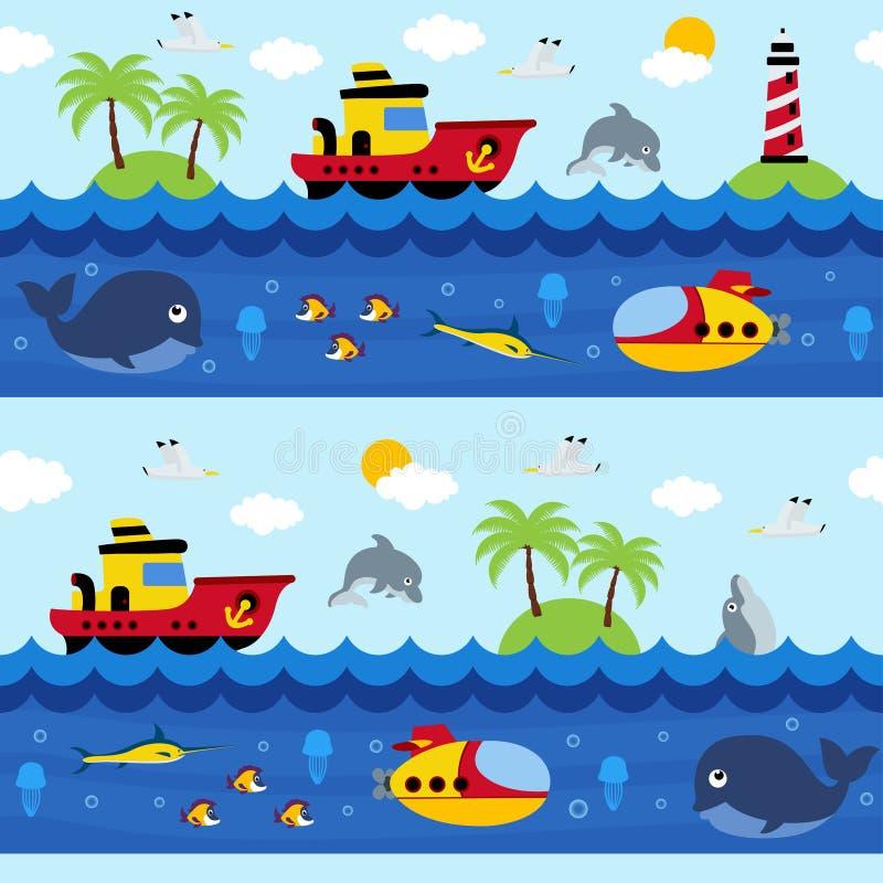 Nahtloses Muster mit Meer und Unterwasser stock abbildung