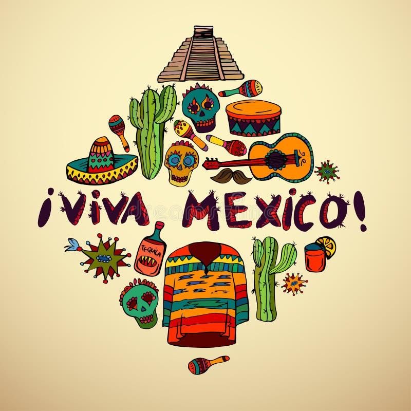 Nahtloses Muster mit mexikanischen Symbolen stock abbildung
