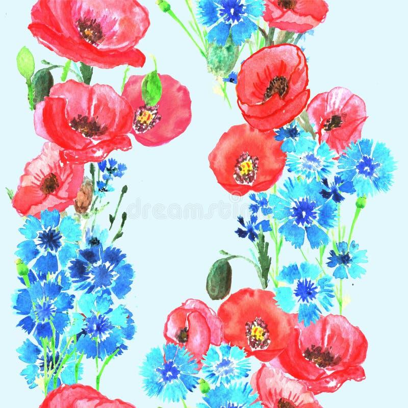 Nahtloses Muster mit Mohnblumen und Kornblumen watercolor vektor abbildung