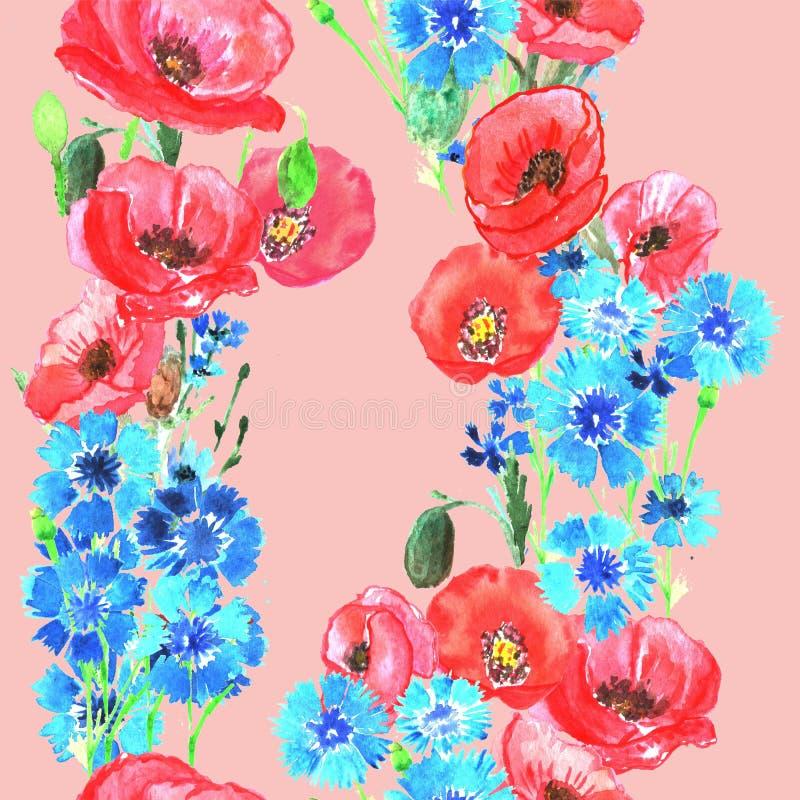 Nahtloses Muster mit Mohnblumen und Kornblumen watercolor stock abbildung