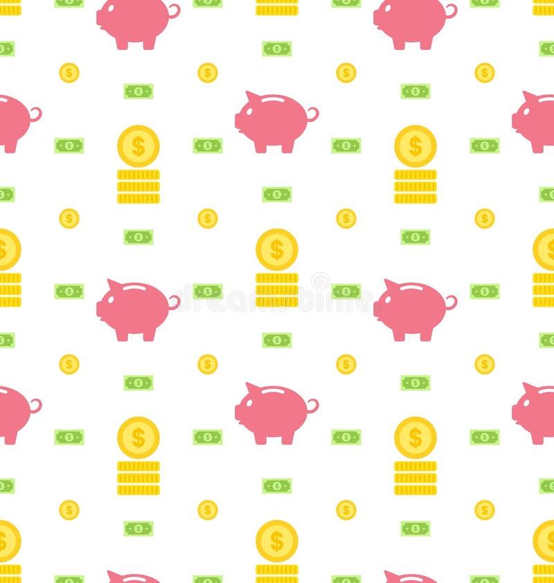 Nahtloses Muster mit Moneybox, Banknoten, Münzen, flache Finanzikonen lizenzfreie abbildung