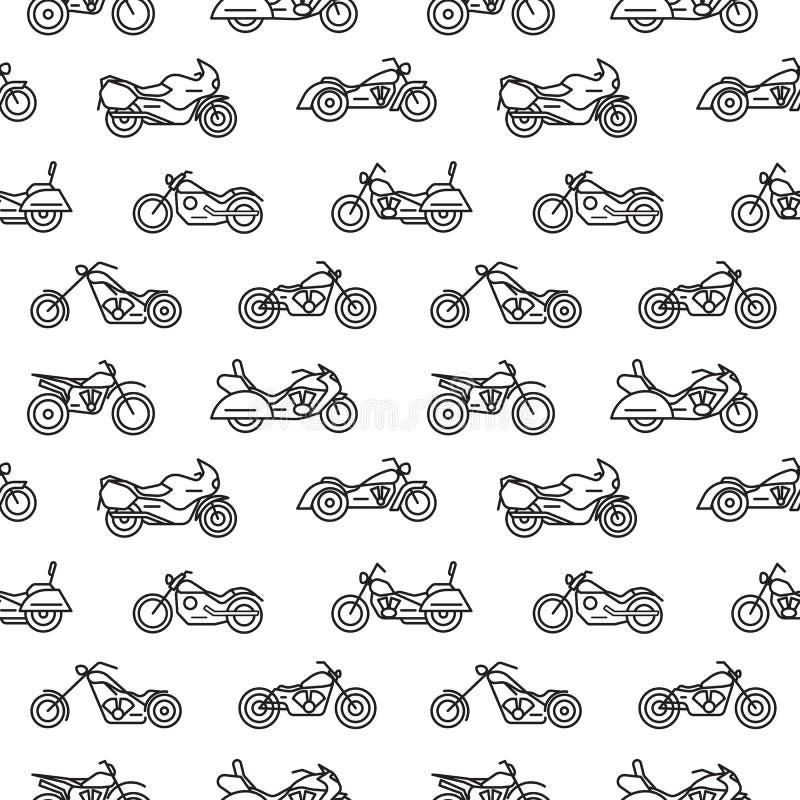 Nahtloses Muster mit Motorrädern von den verschiedenen Arten gezeichnet mit schwarzen Tiefenlinien auf weißem Hintergrund - Zerha vektor abbildung